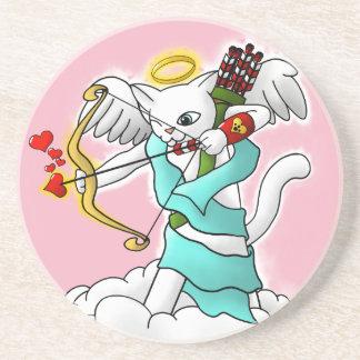 Valentinstag-Schneewittchen-Amor-Katze Untersetzer
