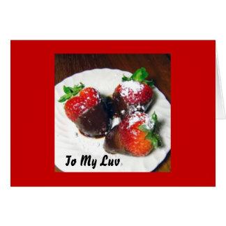 Valentinstag-Schokolade bedeckte Erdbeeren Nau Grußkarte