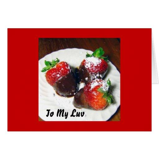 Valentinstag-Schokolade bedeckte Erdbeeren Nau Karten