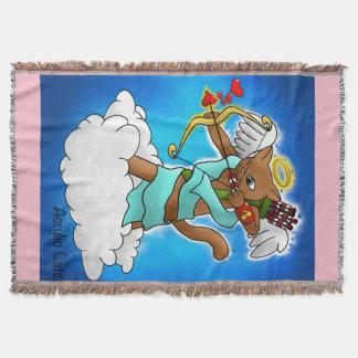 Valentinstag-schokoladenbraune Amor-Katze Decke