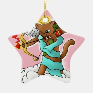 Valentinstag-schokoladenbraune Amor-Katze Keramik Ornament