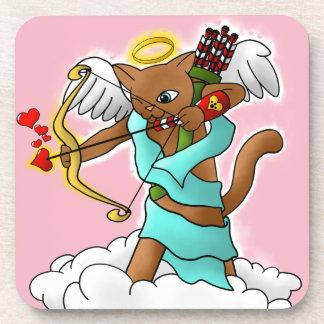 Valentinstag-schokoladenbraune Amor-Katze Untersetzer