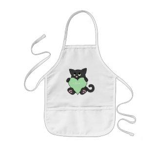 Valentinstag-schwarze Katze mit hellgrünem Herzen Kinderschürze