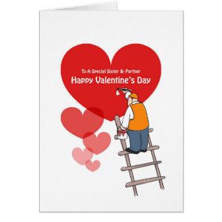 Valentinstag-Schwester-u. Partner-Karten, rote Karte