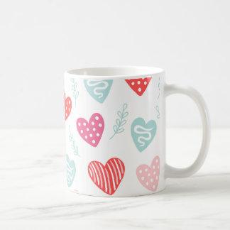 Valentinstag-Süßigkeits-Herz-rotes rosa Muster Kaffeetasse