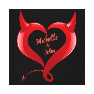 Valentinstag-Teufel-Herz-personalisierte Leinwand