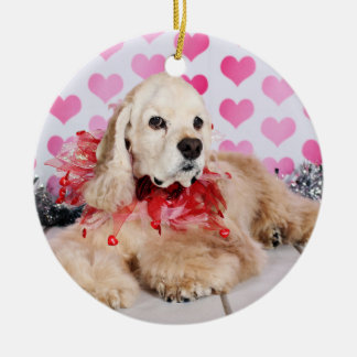 Valentinstag - Tobey - Cocker spaniel Rundes Keramik Ornament