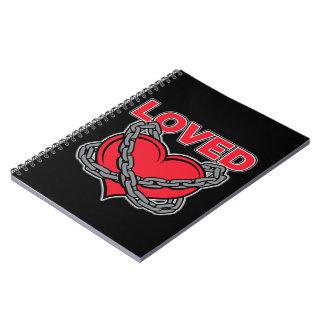 Valentinstag verkettetes geliebtes Herz Notizblock
