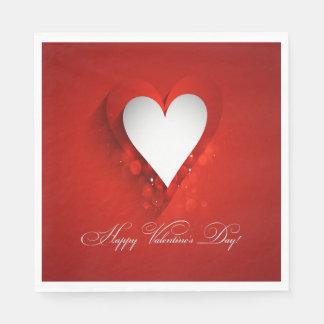 Valentinstag-weißes Herz - fertigen Sie besonders Servietten