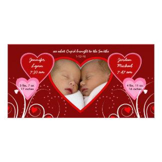 Valentinstag - Zwillings-Baby-Mitteilung Bilderkarten