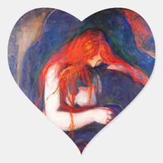 Vampir Edvard Munch Herz-Aufkleber