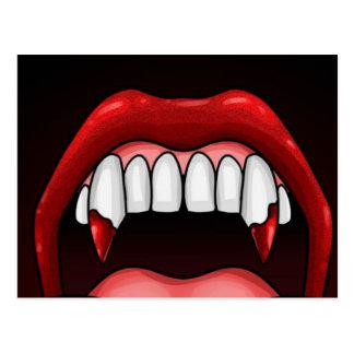 Vampirs-Halloween-Zähne Postkarte