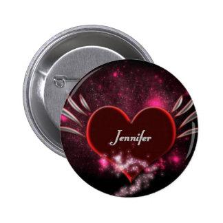 Vampirs-Herz Jennifer Runder Button 5,1 Cm