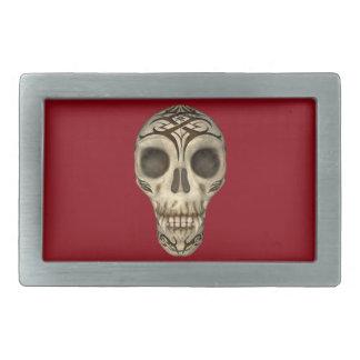 Vampirs-Schädel auf roter Rect Gürtelschnalle