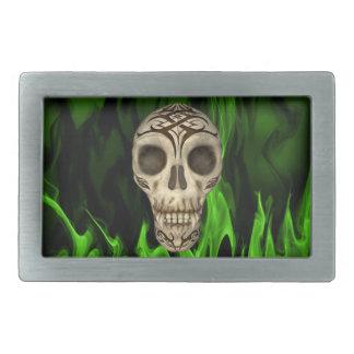 Vampirs-Schädel in den grünen Flammen Rechteckige Gürtelschnallen