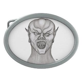 Vampirs-Schwarzweiss-Entwurf Ovale Gürtelschnallen