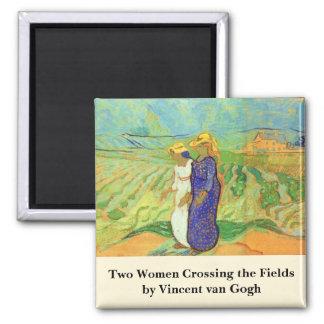 Van Gogh, 2 Frauen-Transversalfelder, Vintage Quadratischer Magnet