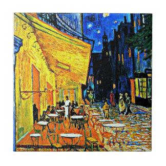 Van Gogh - Café-Terrasse nachts Kleine Quadratische Fliese