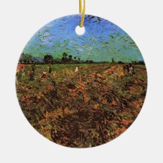 Van Gogh der grüne Weinberg, Vintage feine Kunst Keramik Ornament