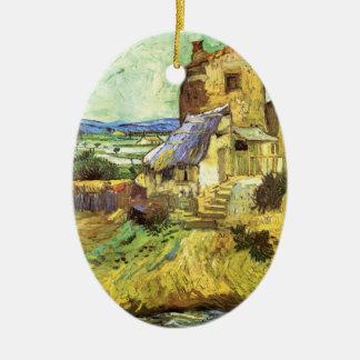 Van Gogh die alte Mühle, Vintage Landschaftsfeine Keramik Ornament