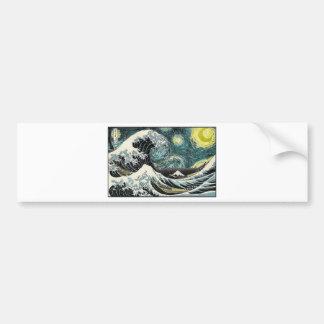 Van Gogh die sternenklare Nacht - Hokusai die Autoaufkleber