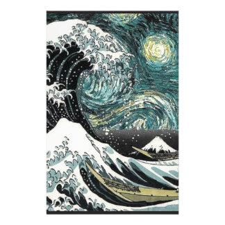 Van Gogh die sternenklare Nacht - Hokusai die Briefpapier