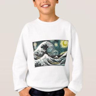 Van Gogh die sternenklare Nacht - Hokusai die Sweatshirt