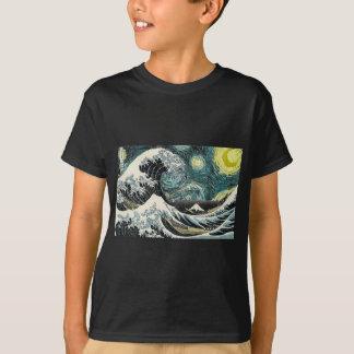 Van Gogh die sternenklare Nacht - Hokusai die T-Shirt