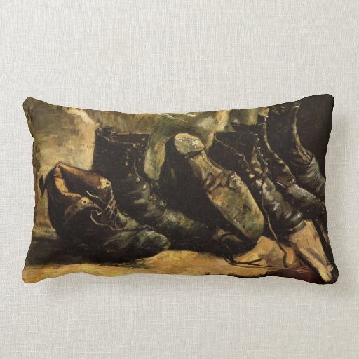 Van Gogh; Drei Paare Schuhe, Vintages noch Leben Zierkissen
