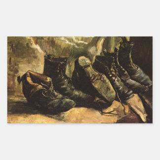 Van Gogh; Drei Paare Schuhe, Vintages noch Leben Rechteckiger Aufkleber