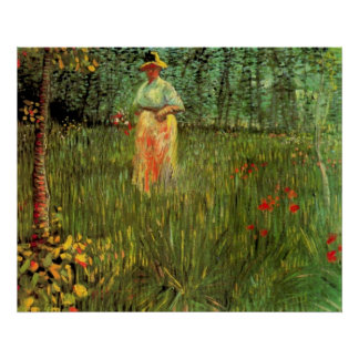 Van Gogh; Eine Frau, die in einen Garten geht Poster