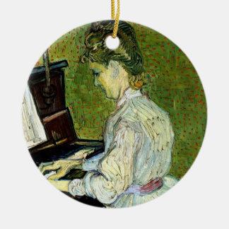 Van Gogh; Gänseblümchen Gachet am Klavier, Vintage Rundes Keramik Ornament