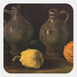 Van Gogh, Gläser und 2 Kürbise, Vintages noch Quadratischer Aufkleber