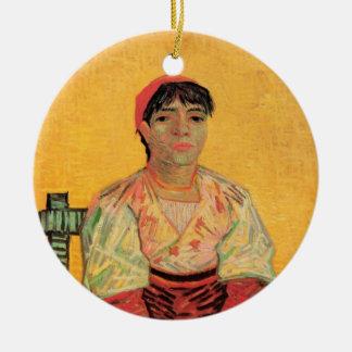 Van Gogh, italienische Frau, Vintage Porträt-Kunst Rundes Keramik Ornament