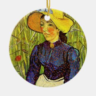 Van Gogh, junge ländliche Frau mit Strohhut Keramik Ornament