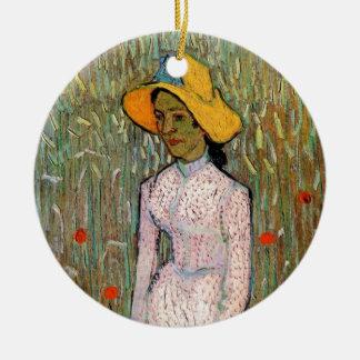 Van Gogh, junges Mädchen stehend; Hintergrund des Keramik Ornament