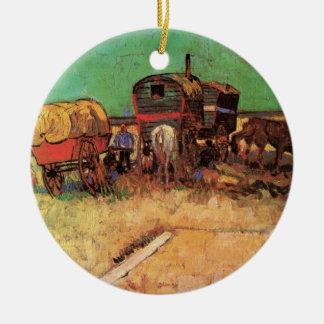 Van Gogh; Lager der Sinti und Roma mit Wohnwagen Keramik Ornament