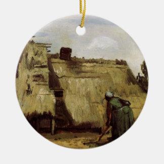 Van Gogh, ländliche grabende Frau, Front der Hütte Keramik Ornament