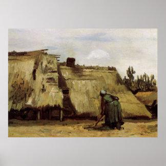 Van Gogh, ländliche grabende Frau, Front der Hütte Poster