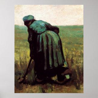 Van Gogh, ländliche grabende Frau, Vintager Bauer Poster