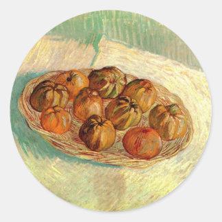 Van Gogh Leben-Korb-Apfel-Vintage feine Kunst noch Runder Aufkleber