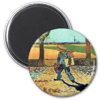 Van Gogh - Maler auf seiner Weise zu arbeiten Runder Magnet 5,1 Cm