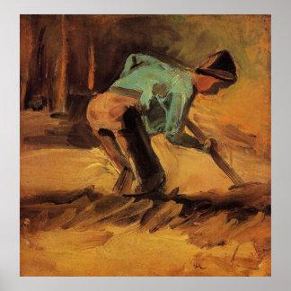 Van Gogh; Mann-neigender Stock oder Spaten, Poster