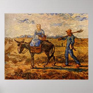 Van Gogh; Morgen: Ländliche Paare, die gehen zu Poster
