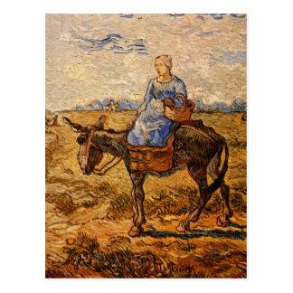 Van Gogh; Morgen: Ländliche Paare, die gehen zu Postkarte