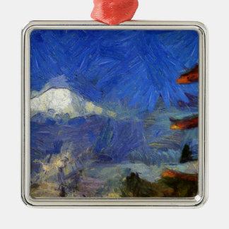 Van Gogh Mt-Fuji-Japan Quadratisches Silberfarbenes Ornament