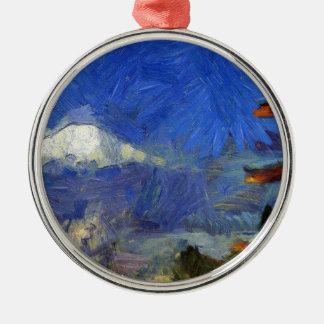 Van Gogh Mt-Fuji-Japan Rundes Silberfarbenes Ornament