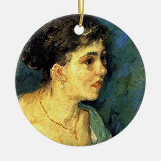 Van Gogh, Porträt der Frau in der blauen, Vintagen Keramik Ornament