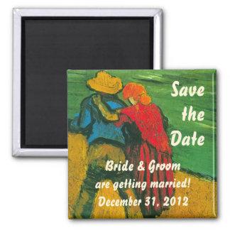 Van Gogh Save the Date! Zwei Liebhaber Quadratischer Magnet