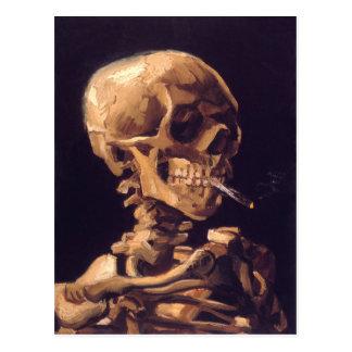 Van Gogh: Schädel mit dem Brennen von Cigaret Postkarte